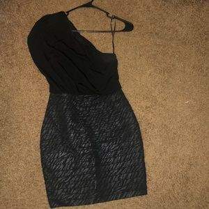 Express Cocktail Dress Black w/ Zebra Print Skirt